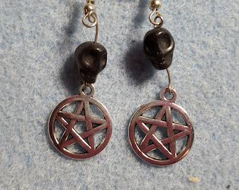 funky skull pentacle earrings