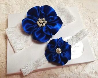 Wedding Garter, White Lace garter, Royal Blue garter, White Bridal Garter, Keepsake Garter, Toss Garter, Handmade Wedding Garter, Gift Boxed