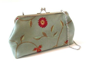 Embroidered frame purse, mint green frame bag red flowers, kiss lock clasp, silver metal purse frame, shoulder bag with chain