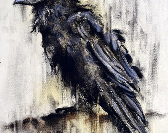 Original Charcoal Drawing Crow on a Branch Black and White Art 12x8""
