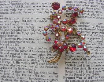 Vintage Brooch Stunning Red Aurora Borealis Crystal and Rhinestone