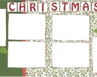 12x12 CHRISTMAS scrapbook page kit, premade scrapbook, 12x12 premade scrapbook page, premade scrapbook page, 12x12 scrapbook layout