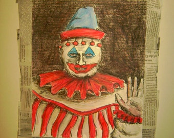 John Wayne Gacy Clown art image 8 x 10 image