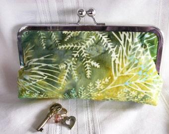 Handmade Indonesian batik clutch. Yellow, aqua, green. SUNNY GARDEN by Lella Rae on Etsy