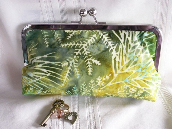 Handmade Indonesian batik clutch. Yellow, aqua, green. SUNNY GARDEN by Lella Rae on Etsy