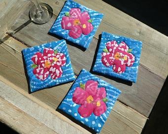 Hibiscus Coasters (blue)