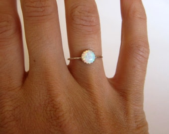 Opal ring. Silver ring band. Gemstone ring. Skinny stacking ring. Birthstone ring. October birthstone jewelry. Sale!