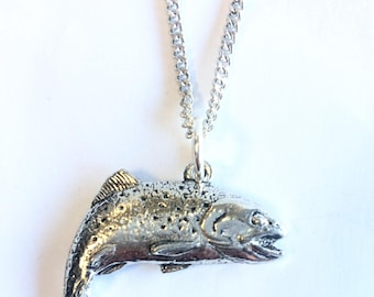Trout Necklace, Handmade in England from Fine Antique English Pewter (fishing)