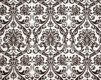 Ready to Ship 20 x 20 Zipper Closure Damask chocolate brown white ONE pillow cover Throw Decorative pillow