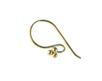 Bali Vermeil Gold Earwires with 4 Balls for High Fashion Jewelry 4 pcs