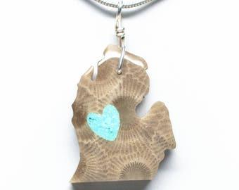 I Heart Michigan Shaped Petoskey Stone / Turquoise Pendant (Lower Peninsula)