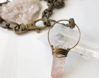 Crystal Quartz Necklace, Healing Crystals, Rose Quartz Crystal, Raw Quartz Necklace, Raw Crystal Jewelry, Natural Healing Crystal Pendant
