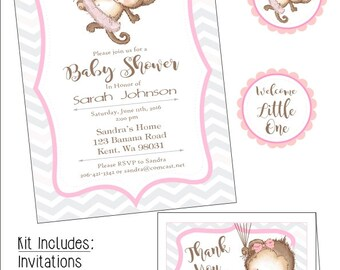Monkey Tutu Baby Shower Kit, Instant download