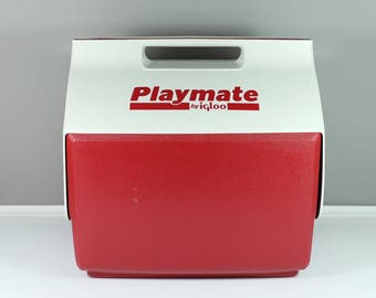 Original vintage large Playmate Igloo Picnic Camping red Cooler - Igloo retro cooler - Large vintage red and white Igloo cooler