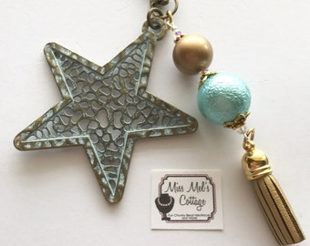 Shoot for the Stars Patina Star Zipper Charm with beads and tassel accents/tassel keychain/purse/bag/charm