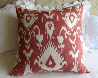EURO pillow cover 24x24 decorative linen kravet bristow cranberry fabric