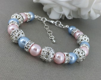 Swarovski Pearl Bracelet Light Blue and Pink Pearl Bracelet Bridesmaid Bracelet Bridesmaid Gift on a budget Maid of Honor Gift