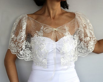 Sheer Lace Tulle Bridal Cape, Cream Tulle Bolero Capelet, Embroidered Special Occasion Wedding Shrug Dress Cover-up Romantic Wear Fashion