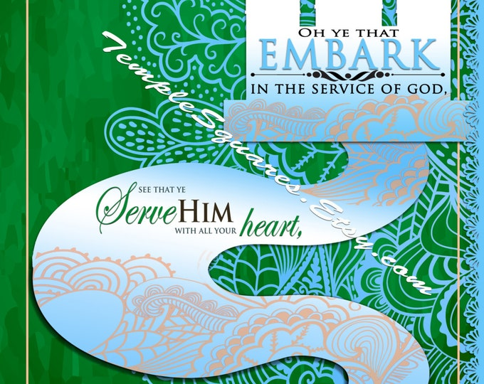 Printable 4 LARGE Frameable poster sizes YW 2015 Theme Embark in the Service of God Green Lace Series, digital files