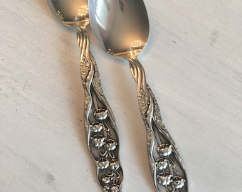 Whiting Lily Of The Valley Spoons ~ Set Of Two ~ Antique Sterling Silver Spoons ~ Sterling Silver Replacement Spoons ~ Jewelry Supplies