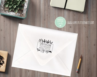 Botanical large custom address stamp, Floral Return Address Stamp, self inking, wood handled style 1007 - Lovely Little Party