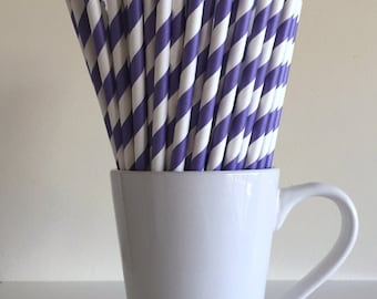 Purple Striped Paper Straws Party Supplies Party Decor Bar Cart Cake Pop Sticks Mason Jar Straws  Party Graduation