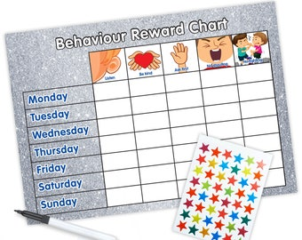 Re-usable Behaviour Reward Chart (including FREE Stickers and Pen) - Silver Glitter Design