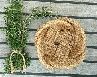 Rustic Catchall, Small Rope Knot Basket, Natural Manila Bowl, Ideal for Sewing Accessories, House Keys, Toiletries Storage Basket, Hand made