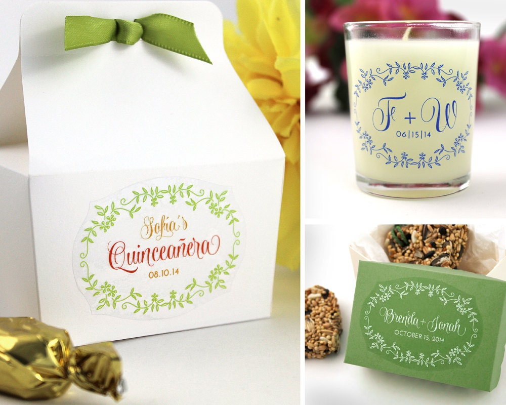 48 Custom Stickers - personalized floral wedding favor stickers ...