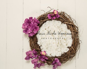 Digital Newborn Prop-Wreath with white and fuchsia backdrop