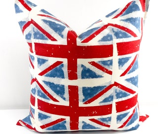 Red And Blue Pillow Cover, Union Jack Pillow Case. Cushion Covers. Pillow  Case