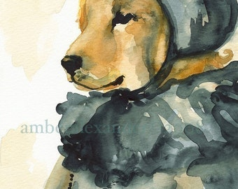 "Golden Retriever Art, watercolor print - ""Juiet, Morning"""