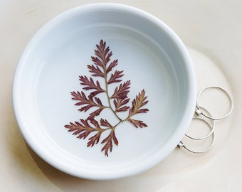 Real Fern Ring Dish, Red Fern Ceramic Dish, Real Nature Dish, Pressed Flowers, Botanical Gift, Jewelry Tray, Dish for Trinkets, Organizer