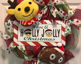 Emoji holly jolly Christmas wreath