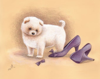 Puppy Dog Art Print from an Original Watercolor Illustration