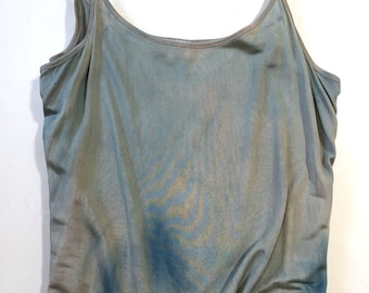 Eco-Dyed Fine-knit Silk Camisole; Outer Space; Mushroom and Indigo Dye; Size Medium