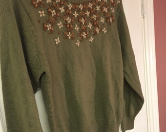 Vintage knit sweater - green with flowers - Sz sm/m