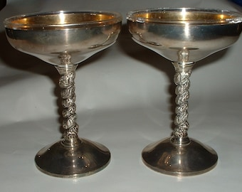 Vintage Pair of Silverplate Goblets with Twisty Handle  Two pairs available