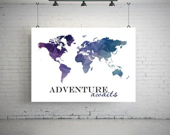 Geometric world map etsy large world map poster geometric world map art world map poster world map printable world map wall art world map post gumiabroncs Image collections