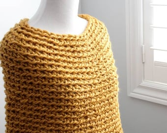 Capelet, infinity scarf, chunky capelet, poncho scarf, chunky knit cape, wool cape, wrap sweater, circle scarf, winter cape, winter scarf