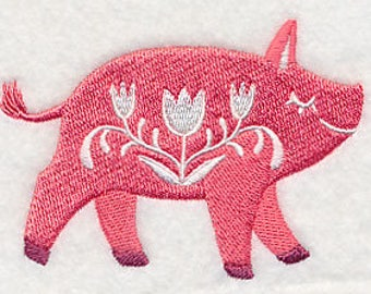 Floral Pig Embroidered Kitchen Towel
