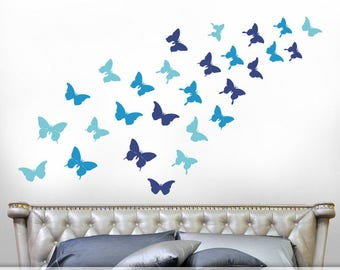 Blue Realistic Butterfly Silhouettes, Butterfly Decals, Butterfly Decor for Girls Room, Butterflies Wall Decals, Bedroom Decor (Blues)
