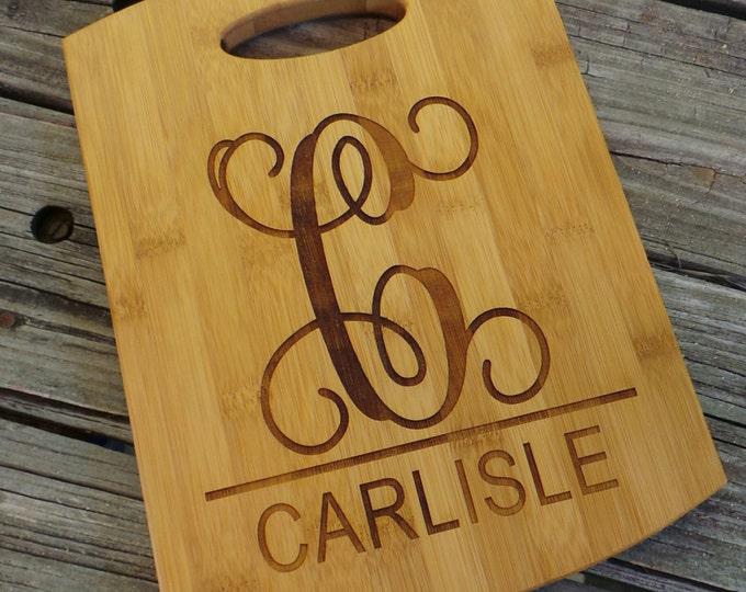 Personalized Cutting Board - Custom Made Bamboo Cutting Board - Monogram Cutting Board - Monogram Home Decor - Wedding Gift