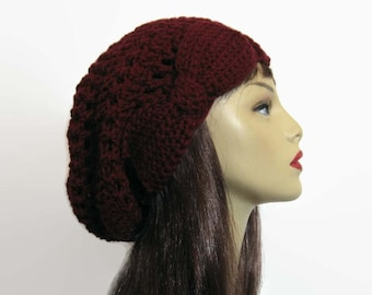 Burgundy Slouch Hat with Bow Wine Slouch Hat Dark Red knit Beanie with Bow crochet women's hat Slouchy Maroon Beret Wine Slouch Tam
