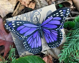 Medium Midnight Blue Feather Butterfly Hair Clip