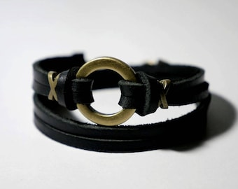 Leather Bracelet Wrap Bracelet Leather Cuff Bracelet Women Leather Bracelet with Bronze O Ring in Black Color with Lobster Clasp