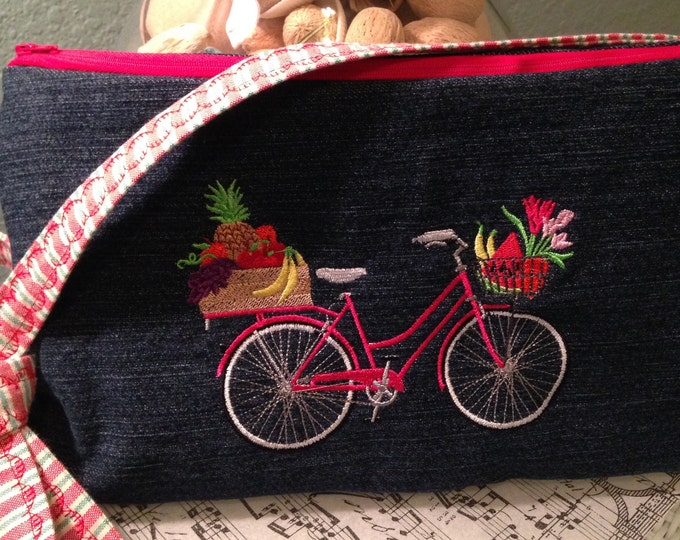 Denim purse, embroidered bike, repurposed denim, 8 by 12, cross-body strap, lining red ticking stripe, zip pocket, inside pockets, zip close