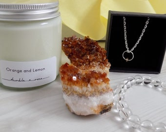 CITRINE Crystal&Candle box - Candle gift box - Crystal gift - Citrine gift box - Surprise box - Candle subscription box