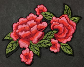 Iron on patch-Embroidery Patch-Patches-Rose Patch-Flower Patch-Flower Embroidery-Rose Embroidery-Rose Applique-Iron On Patch-Floral Patch
