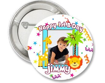 King Of the Jungle Custom Birthday Photo Pinback Button-3.5 inches